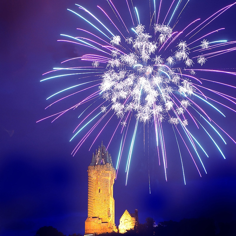 fireworks over the Wallace Monument Scotland