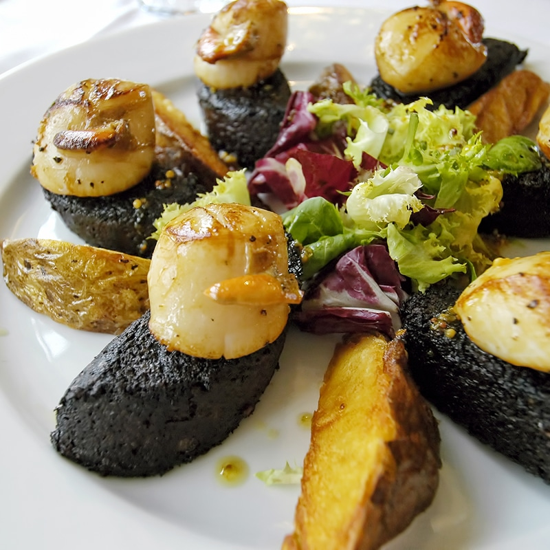 scallops and blackpudding on a highland tour